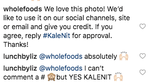 screenshot of instagram comments. whole foods asks permission to post the photo and the other person replies absolutely