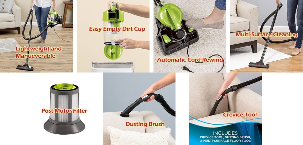 bissell zing bagless canister vacuum features