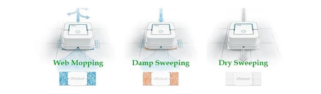 1024x300 iRobot Mop Jet 240 wet damp dry mode