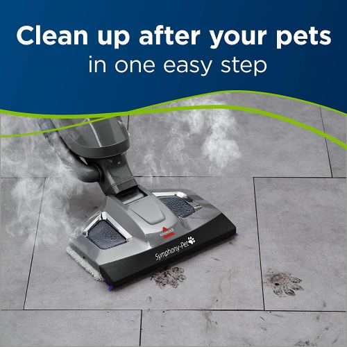 Bissell Symphony Pet Steam Mop and Steam Vacuum Cleaner 1543A Cleaning after the pets