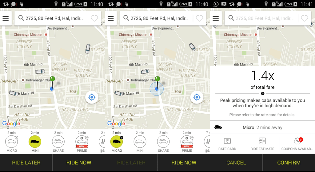 Ola Uber Cabs Surge Pricing Logic