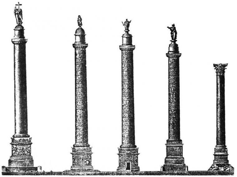 Сравнительные пропорции Александровской колонны, Вандомской колонны в Париже, Колонны Траяна в Риме, колонны Помпея в Александрии и колонны Антонина в Риме.
