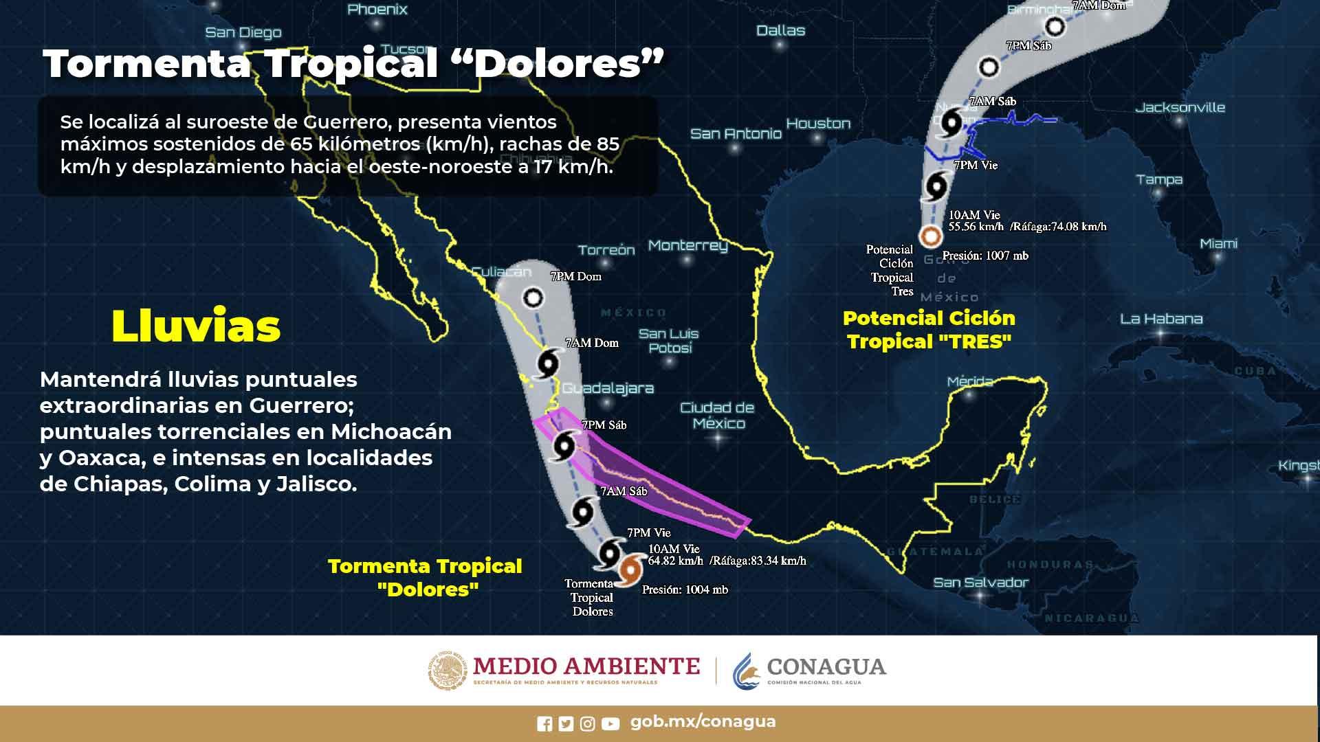 TORMENTA TROPICAL «DOLORES» MUY CERCANA A COSTAS MEXICANAS