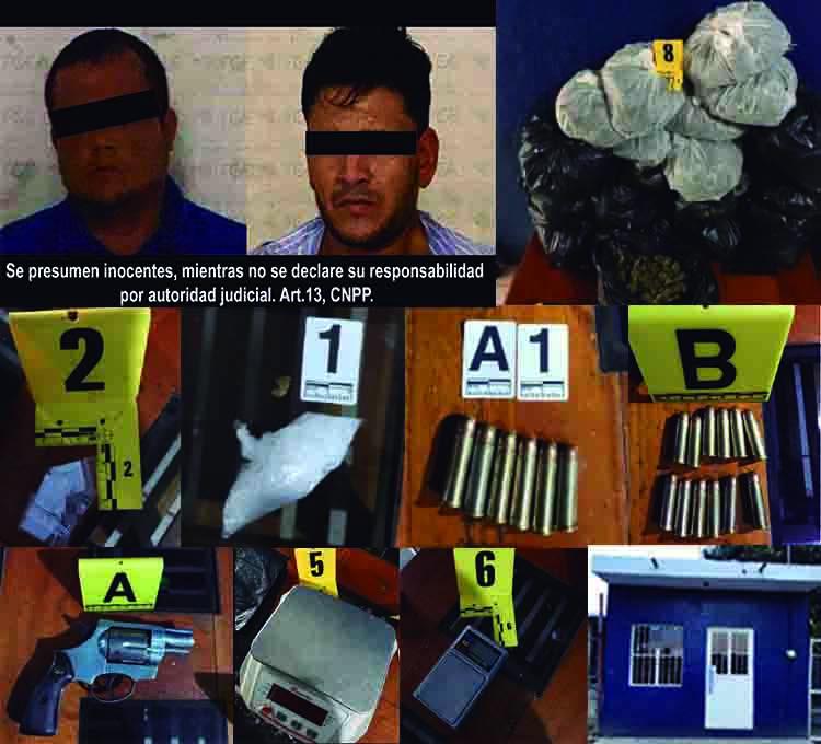 Se asegura gran cantidad de droga y arma; hay dos detenidos