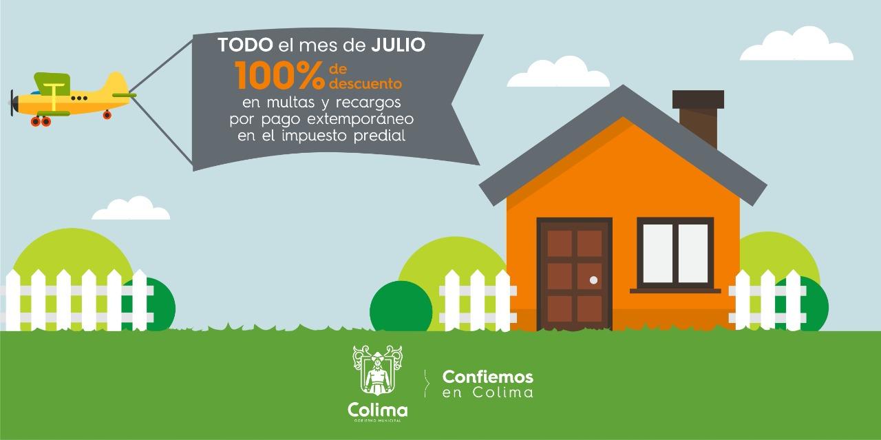 Ayuntamiento de Colima brinda el 100% de descuento en multas y recargos en el pago del predial