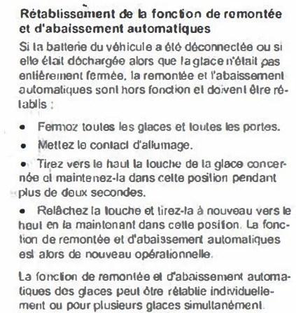 réinitialisation des vitres remontée automatique gof leon a3 audi volkswagen