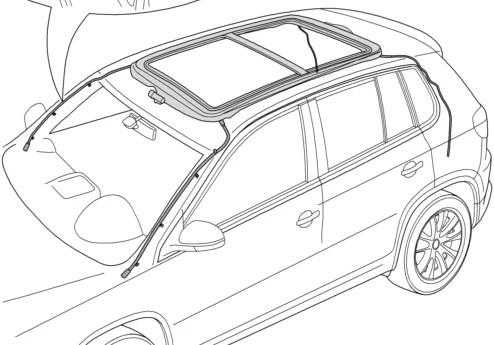 Tuyaux d'évacuation toit ouvrant panoramique VW tiguan