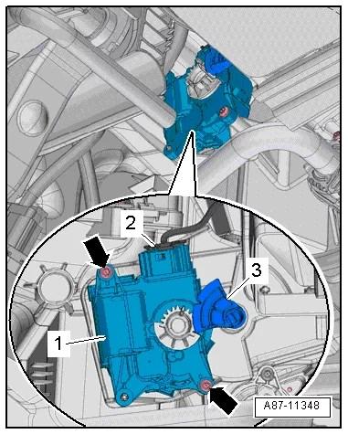 Démontage et installation du moteur de commande de volet de température gauche -V158-, véhicules à gauche