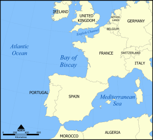Kart over Biscaya. https://upload.wikimedia.org/wikipedia/commons/b/bc/Bay_of_Biscay_map.png