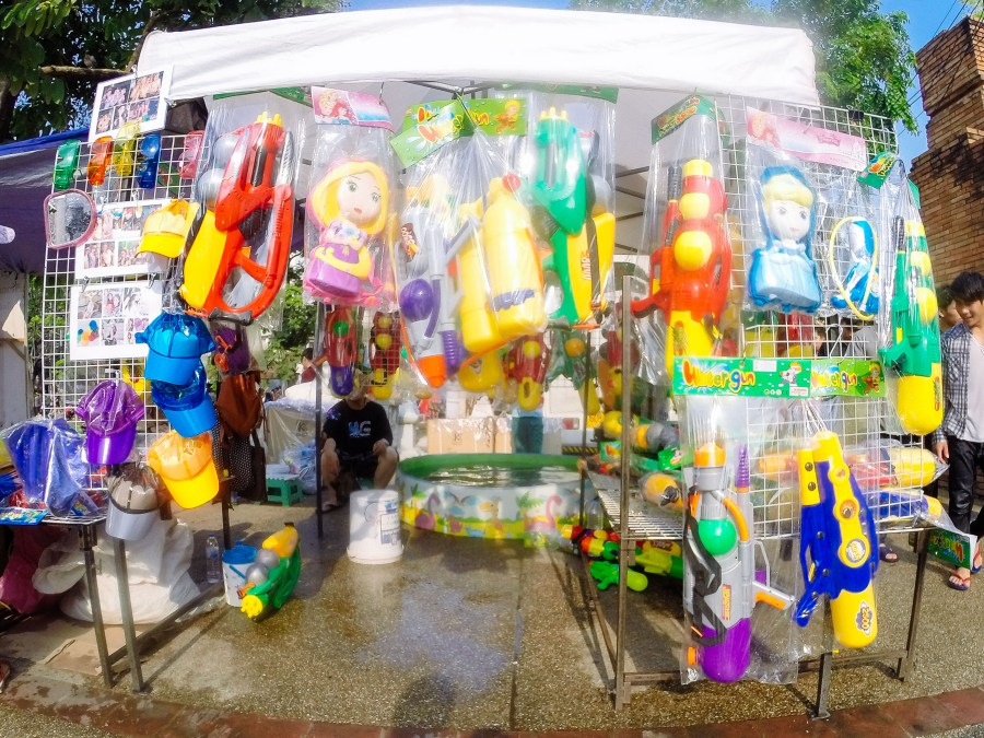 During the day, the streets are full of cheap water guns stands.