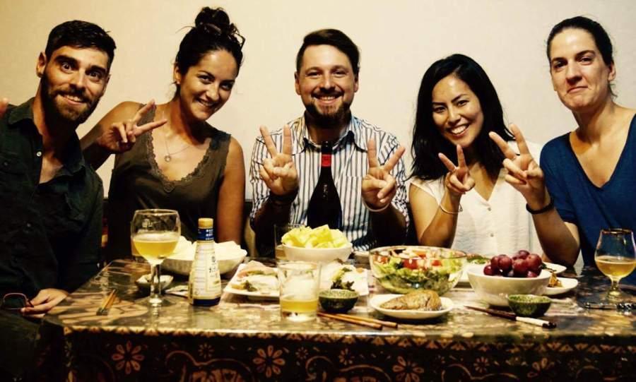 Sashimi time in Osaka with our host Anthony, and CSers Sara + Tatiana
