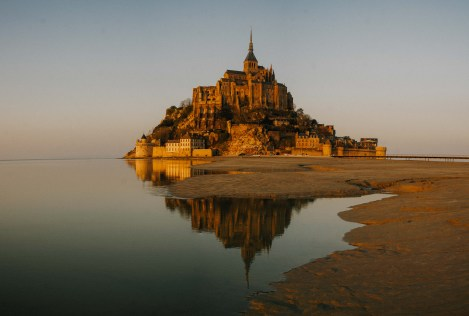 Mount St Michel at sunset