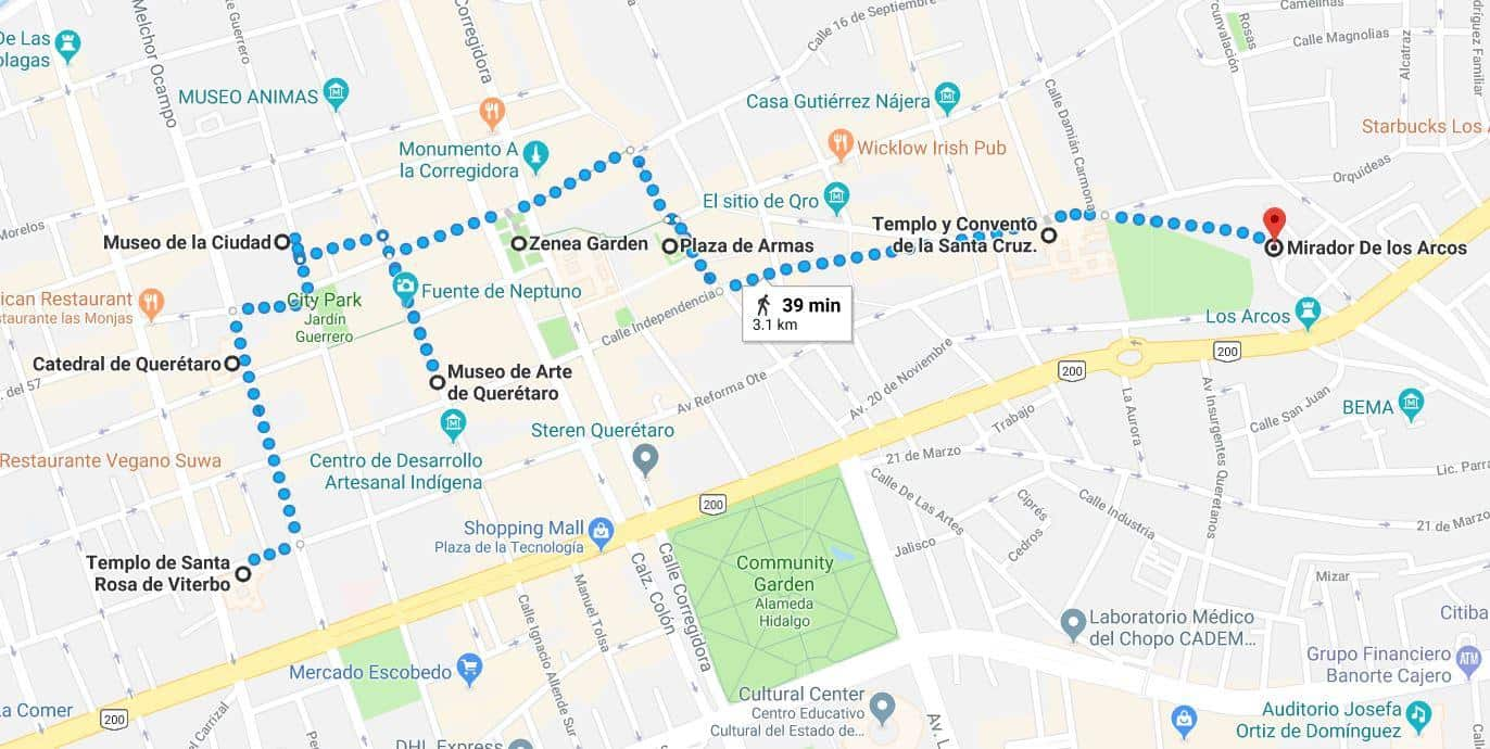 Click This Google Map To Get Started On This Queretaro Free Old Town  Walking Tour Map: