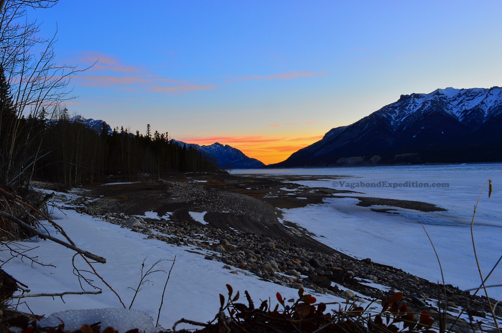 Winter Sun Rise over Abraham Lake