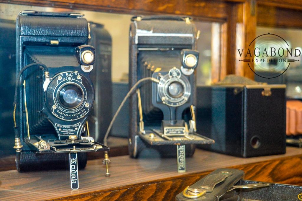 antique kodak cameras at photography studio
