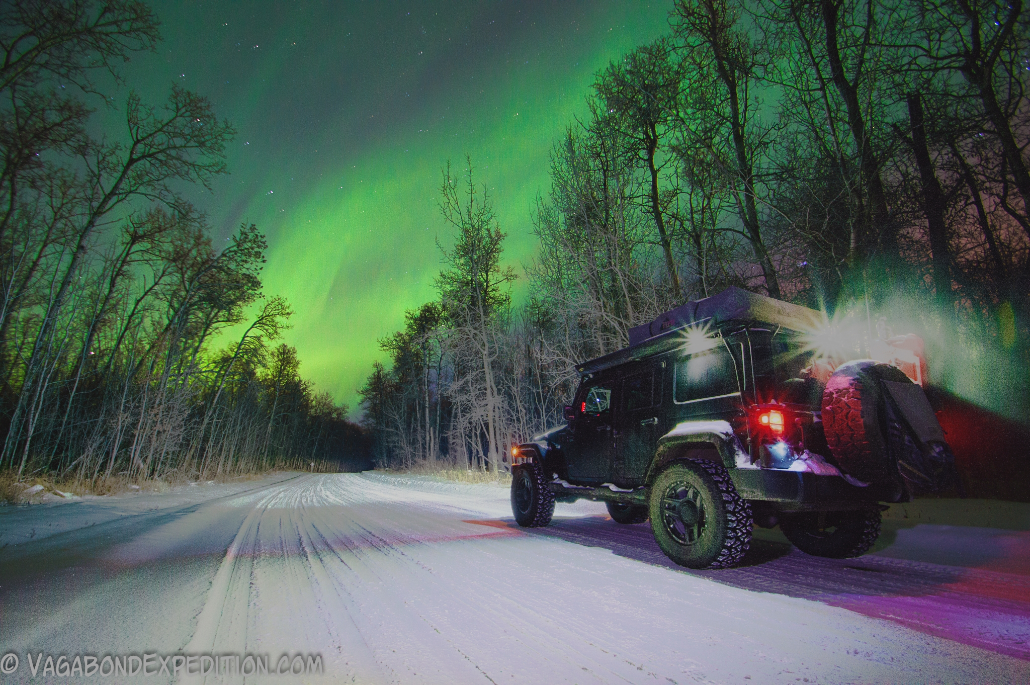 the Northern Lights (Aurora) and the Overland Jeep Wrangler