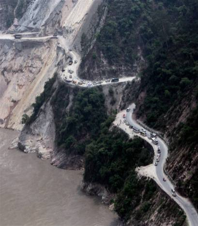An areial view of a damaged road after landslide, in Srinagar, Uttarakhand. It will take months before they are back in shape.