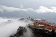 New Tehri town amidst cloud cover. Old Tehri was at the altitude of 755 metres while the new one is at altitude os 1600 metres above sea level