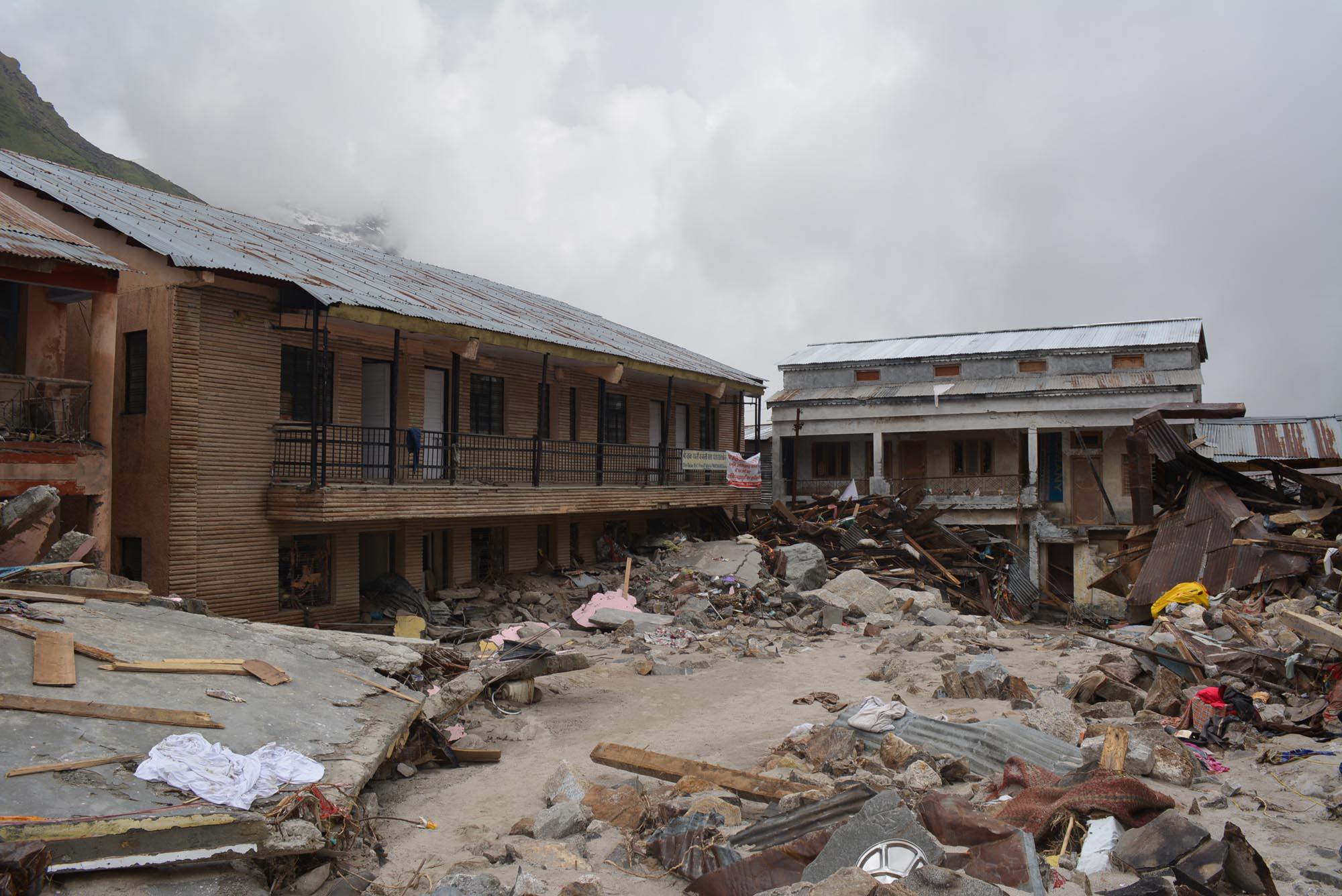 Few remaining buildings at Kedarnath