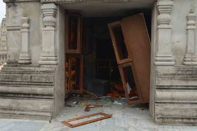 Damage caused by the blasts at temple premises