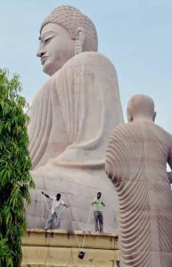 Statue of Lord Buddha at World Heritage Mahabodhi Temple in Bodhgaya in Bihar, India