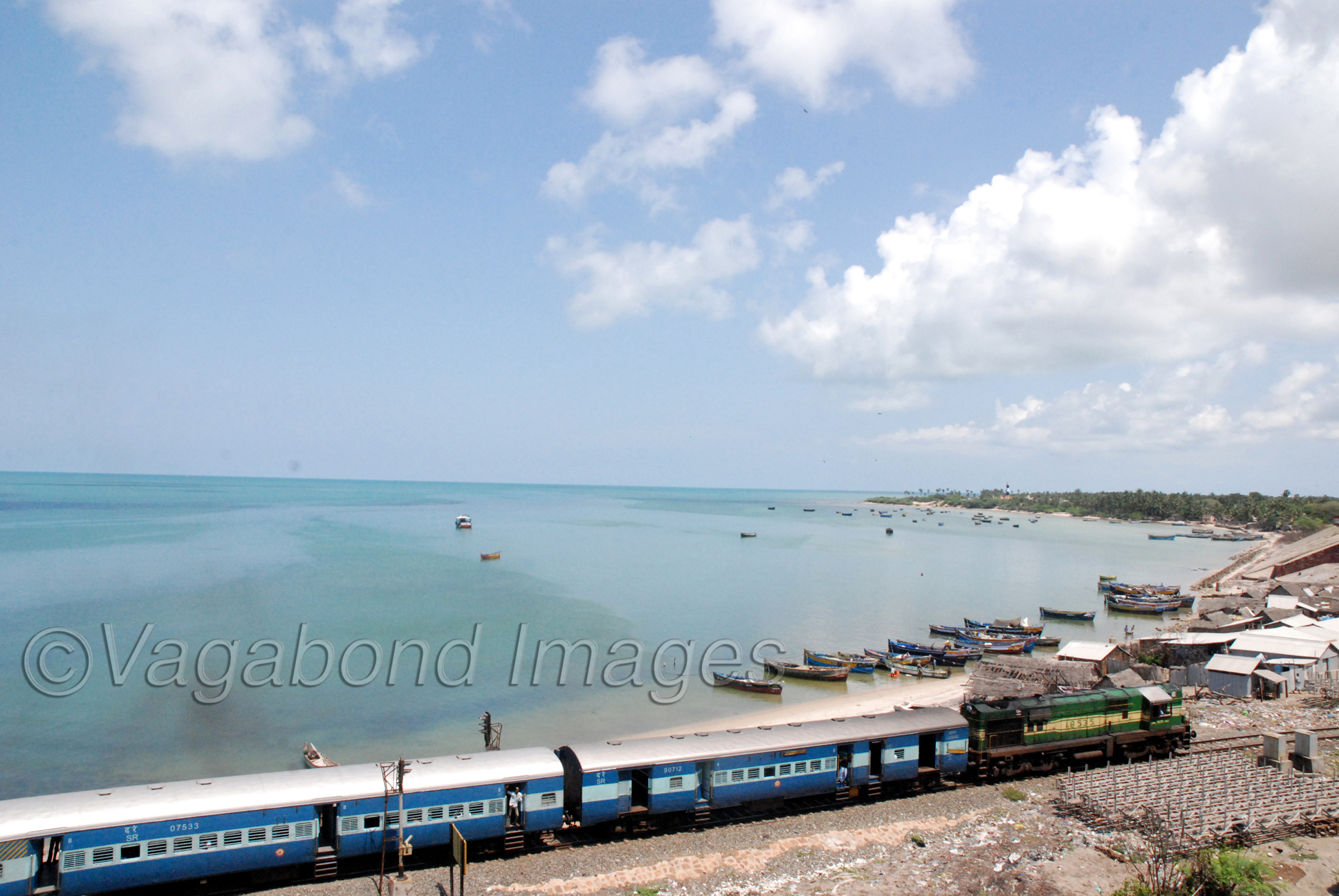 Train entering the Pamban island housing the famour pilgrimage site of Rameshwaram