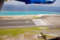 Here goes the plane through a watery runway in to sky like a bird