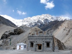 On the left is the small temple where mummy is presently being kept, while on the right is the new temple being constructed
