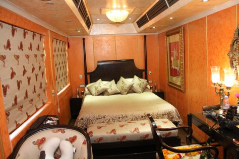 A luxury suite if the Royal Rajasthan on wheels