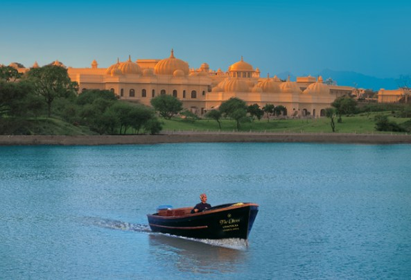 Oberoi Udaivilas in Udaipur. In foreground is the lake Pichola.