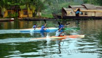 budding athletes practicing in Aleppy waters