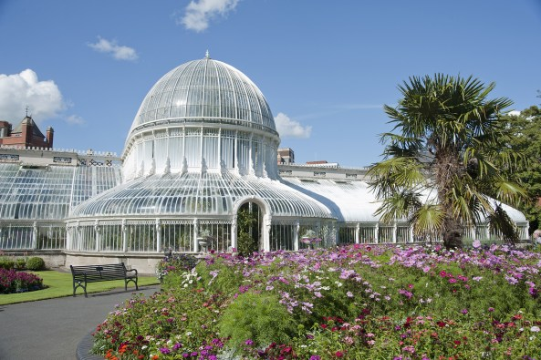The Palm House in Belfast Botanical Gardens is a 19th century cast iron and glass glasshouse which houses tropical and rare plants collected from all over the world.