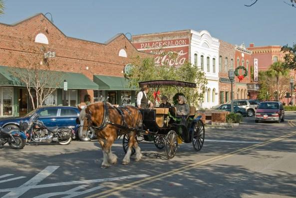 Historic Fernandina Beach-Centre Street, Books Plus Bookstore and Palace Saloon