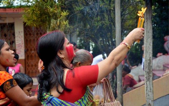 """Women offering prayers during """"Ambubachi"""" festival at Laxminarayan  Temple during Ambubachi Mela"""