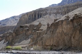 Rugged mountains rising above Spiti