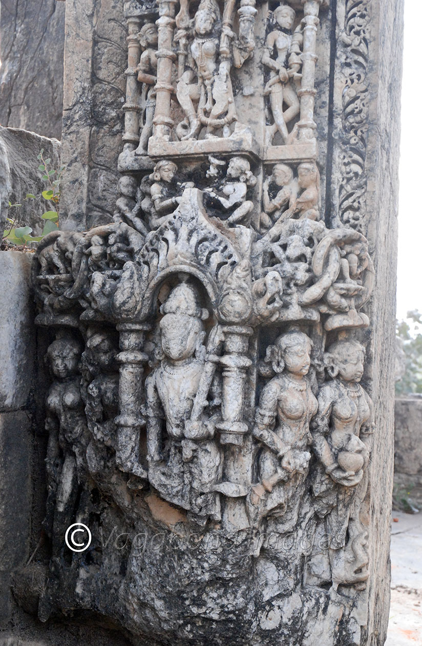 Various sculptures on the pillars and gate to this temple