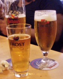 A trio of beers in a nice little beer garden. One of the things I loved about going to pubs in France was that the glass and coaster always went with the beer!