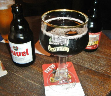 Kasteel Rouge dark beer flavored with cherries with a Duvel on the side.