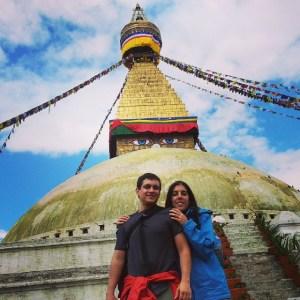 En la stupa más grande de Katmandú
