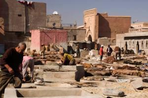 Barrio de los curtidores en Marrakech