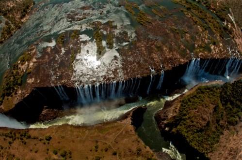 Vista de las cataratas Victoria desde el helicóptero