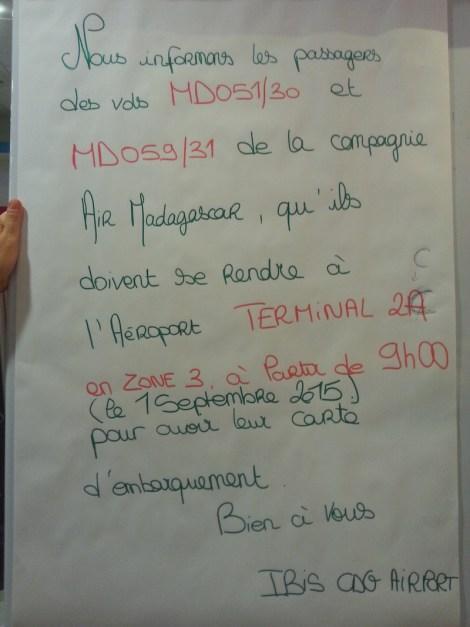 Cartel informativo de Air Madagascar