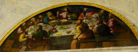 Pintura de la Última Cena en la Iglesia de la Compañía, Arequipa, donde puede verse el cuy como plato principal