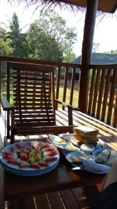 Hotel Sigirya Watter Cottage: desayuno en la terraza. Sri Lanka