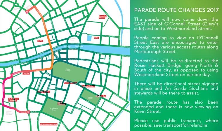 Mapa de la ruta del Desfile de San Patricio en 2017, vía http://www.stpatricksfestival.ie