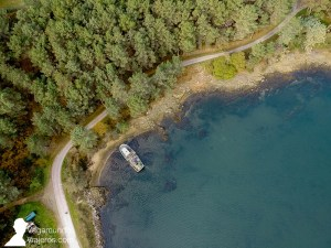 Vista desde el drone de la costa de Arousa Norte, Galicia