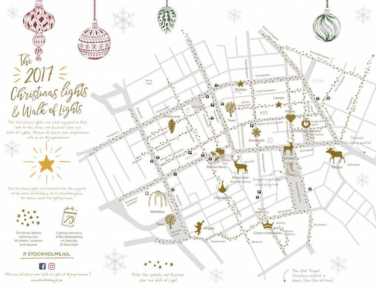 Mapa de iluminación navideña en las calles de Estocolmo