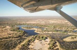 El delta del Okavango, Botswana, vistas desde el sobrevuelo en avioneta