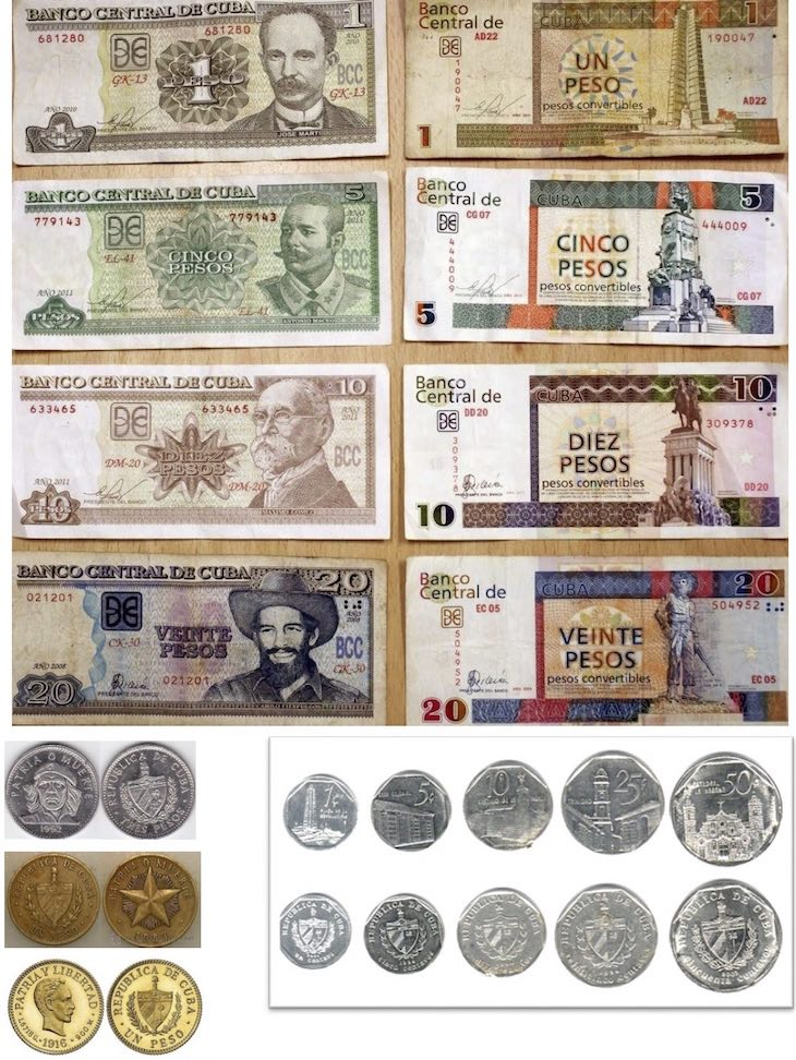 Pesos cubanos a la izquierda, pesos convertibles a la derecha