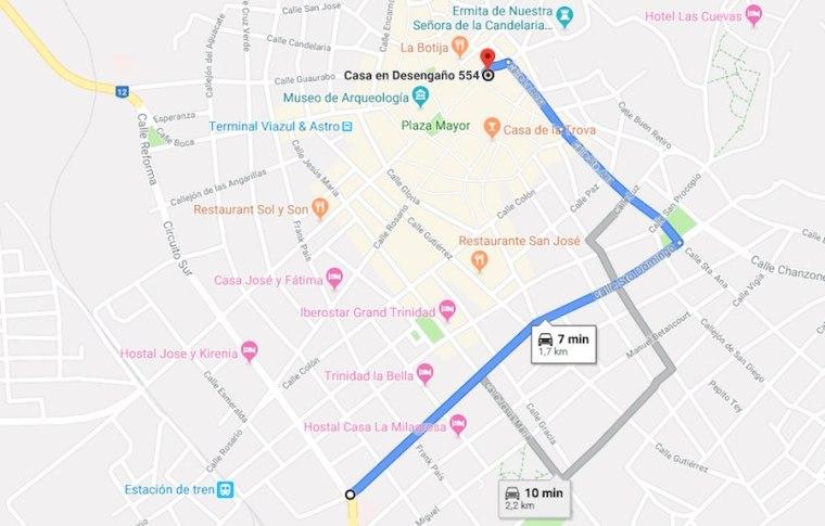 Mapa de cómo llegar a Villa Trinidad en coche